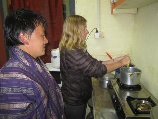 Cooking Ema Dashi, chili and cheese