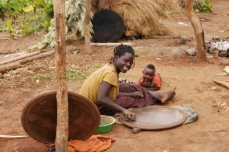 Village life - making injera trays