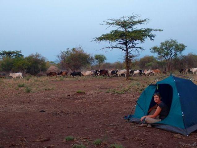 Camping at a Mursi village