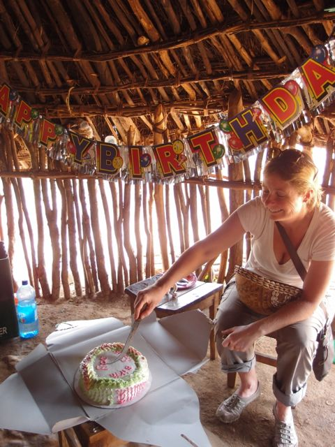 Birthday celebrations in an African hut