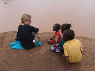 Chilling at the Omo river with some Daanasech kids at Omorate