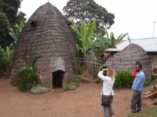 Dorze houses are built to stand two stories high and last 100 years. Over time they decrease in size from termites (as per the one on the right)
