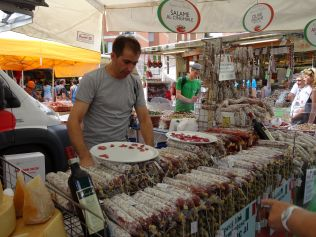 Salami at Italian markets