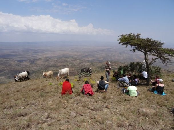 Mt Essakut summit with some Masai and their cattle