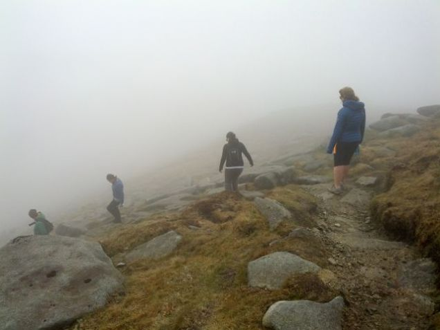 Descending Goat Fell in the mist