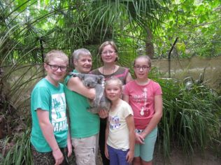 Family with a koala